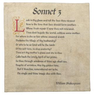 Shakespeare Sonnet 3 Parchment Napkin