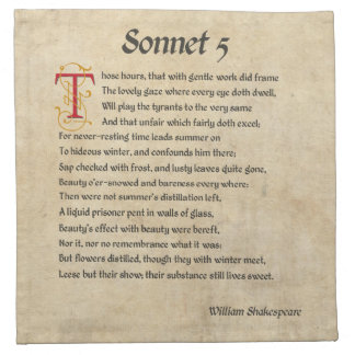 Shakespeare Sonnet 5 Parchment Printed Napkin