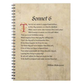 Shakespeare Sonnet 6 Parchment Notebook