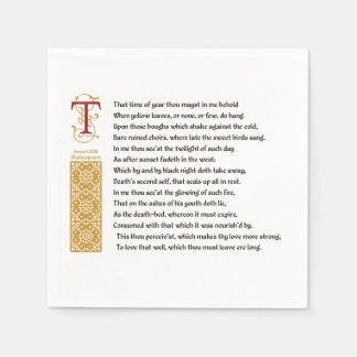 Shakespeare Sonnet 73 (LXXIII) on Parchment Disposable Serviette