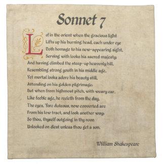 Shakespeare Sonnet 7 Parchment Napkin