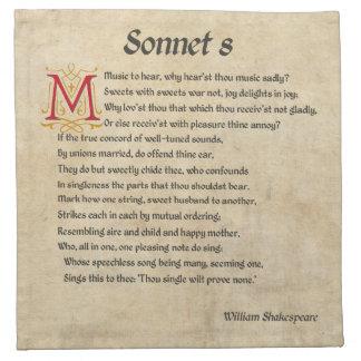 Shakespeare Sonnet 8 Parchment Napkin