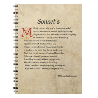 Shakespeare Sonnet 8 Parchment Notebook