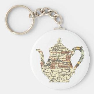 Shakespeare Teapot Basic Round Button Key Ring
