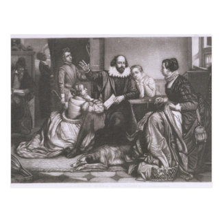 Shakespeare with his Family, at Stratford, Recitin Postcard