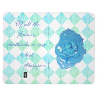 Shakespearean Blue Rose Checkered Journal