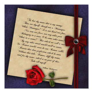 Shakespearean Rose Gothic Wedding Custom Invites