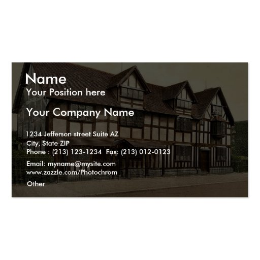 Shakespeare's birthplace, Stratford-on-Avon, Engla Business Card Template