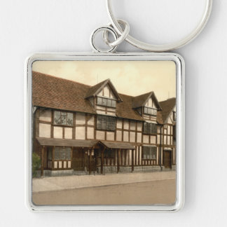 Shakespeare's Birthplace, Stratford-upon-Avon Silver-Colored Square Key Ring