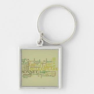 SHAKESPEARE'S XVIII SONNET Silver-Colored SQUARE KEY RING
