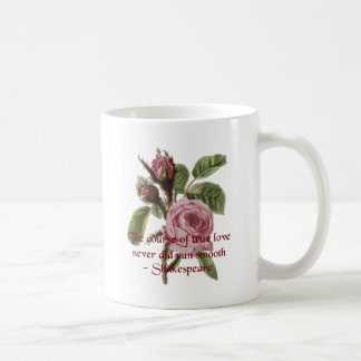Shakespearian Love Quote and Vintage Red Rose Basic White Mug