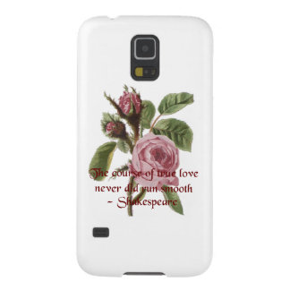 Shakespearian Love Quote and Vintage Red Rose Galaxy S5 Cases