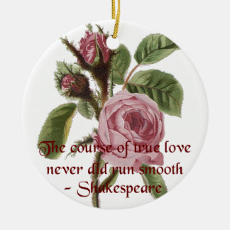 Shakespearian Love Quote and Vintage Red Rose Double-Sided Ceramic Round Christmas Ornament