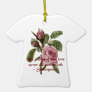 Shakespearian Love Quote and Vintage Red Rose Ornament