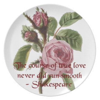 Shakespearian Love Quote and Vintage Red Rose Dinner Plate
