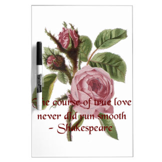 Shakespearian Love Quote and Vintage Red Rose Dry-Erase Boards