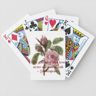 Shakespearian Love Quote and Vintage Red Rose Bicycle Card Decks