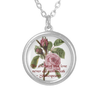 Shakespearian Love Quote and Vintage Red Rose Round Pendant Necklace