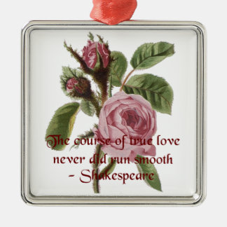 Shakespearian Love Quote and Vintage Red Rose Silver-Colored Square Decoration