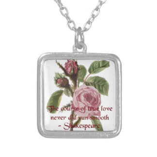 Shakespearian Love Quote and Vintage Red Rose Square Pendant Necklace