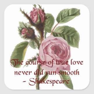 Shakespearian Love Quote and Vintage Red Rose Square Sticker