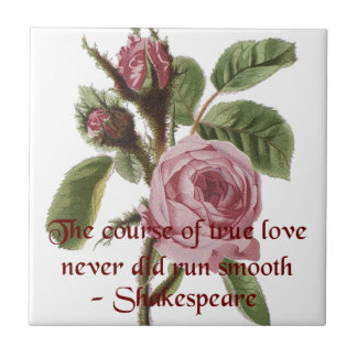 Shakespearian Love Quote and Vintage Red Rose Ceramic Tile