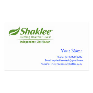 Shaklee Independent Distributer Pack Of Standard Business Cards