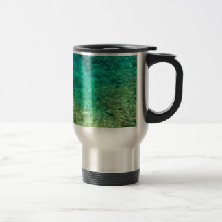 Shallow clear water with coral stainless steel travel mug