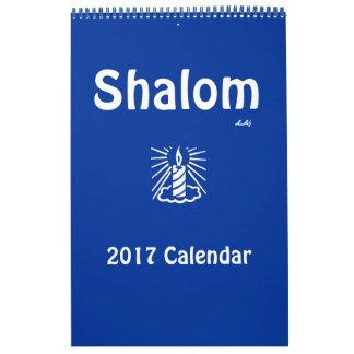 Shalom 2017 Blue Light Candle Calendar Single Page