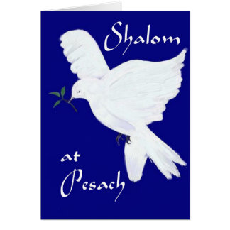 Shalom at Pesach!-White Dove of Peace Greeting Card