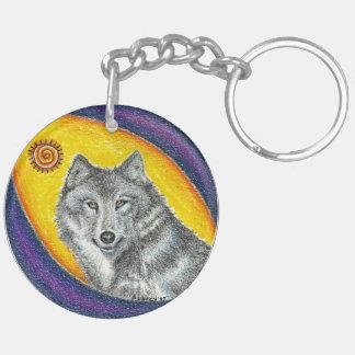 Shaman Healing Wolf Double-Sided Round Acrylic Key Ring