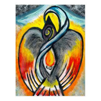 Shamanic Raven Fire Postcard