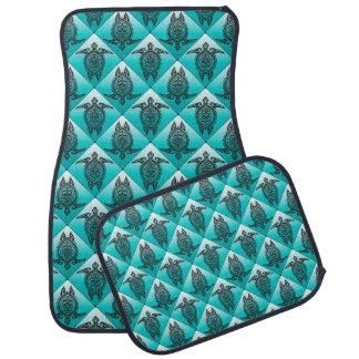 Shamanic Sea Turtles Pattern - cyan Car Mat