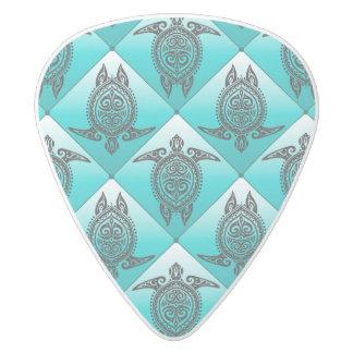 Shamanic Sea Turtles Pattern - cyan White Delrin Guitar Pick