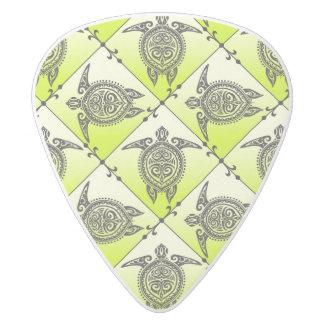 Shamanic Sea Turtles Pattern - green White Delrin Guitar Pick