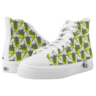 Shamanic Sea Turtles Pattern - green High Tops