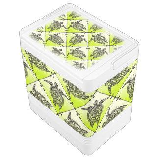 Shamanic Sea Turtles Pattern - green Igloo Cooler