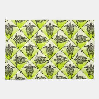 Shamanic Sea Turtles Pattern - green Tea Towel