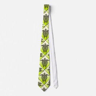 Shamanic Sea Turtles Pattern - green Tie