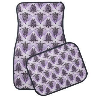 Shamanic Sea Turtles Pattern - violet Car Mat