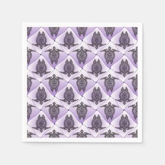 Shamanic Sea Turtles Pattern - violet Disposable Serviette