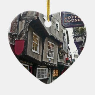 Shambles Street of York Ceramic Heart Decoration