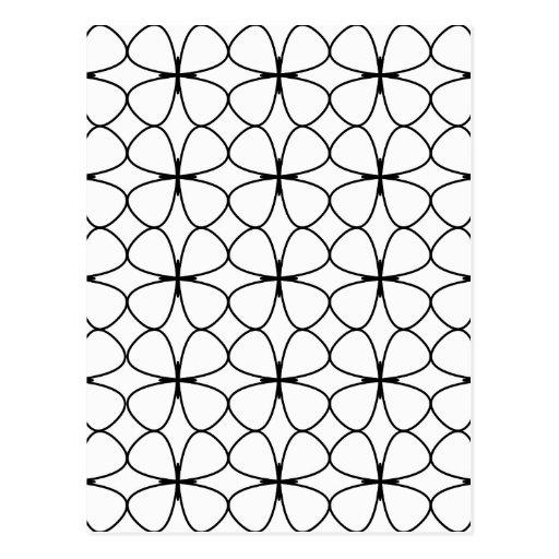 Shamrock 4 Leaf Clover Black and White Geometric Post Card