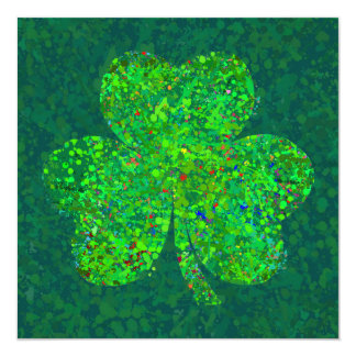 Shamrock Action Painting Art 5.25x5.25 Square Paper Invitation Card