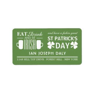Shamrock and Beer Irish St Patrick's Day Label