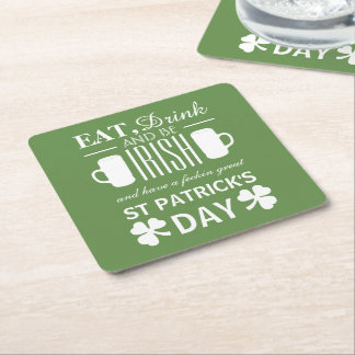 Shamrock and Beer Irish St Patrick's Day Square Paper Coaster