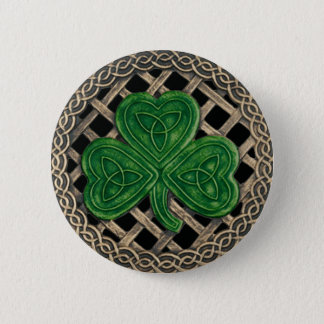 Shamrock And Celtic Knots Button Black