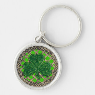 Shamrock And Celtic Knots Keychain Green