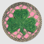 Shamrock And Celtic Knots Stickers Pink