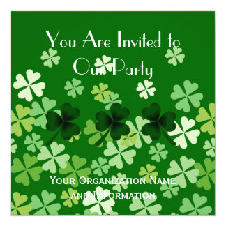Shamrock and Four Leaf Clovers 13 Cm X 13 Cm Square Invitation Card